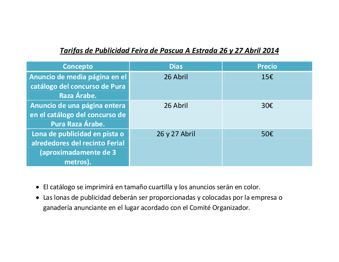 Tarifas Publicidade Feira Pascua 2014