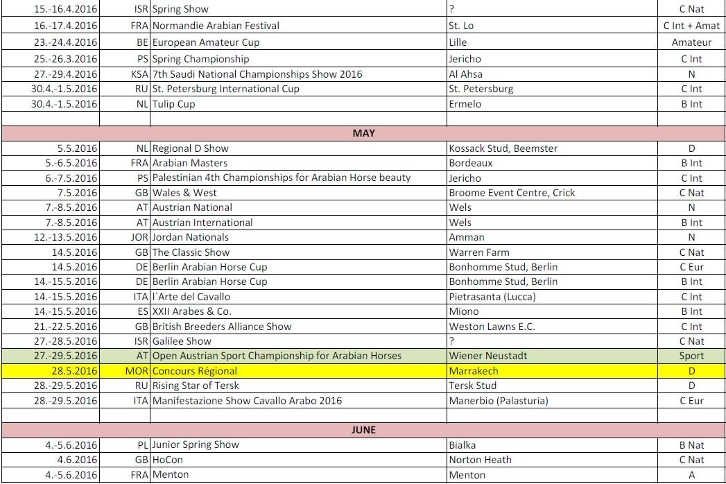 Calendario de shows de caballos arabes por fechas