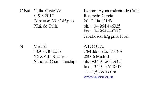 fechas de shows de caballos arabes 2017