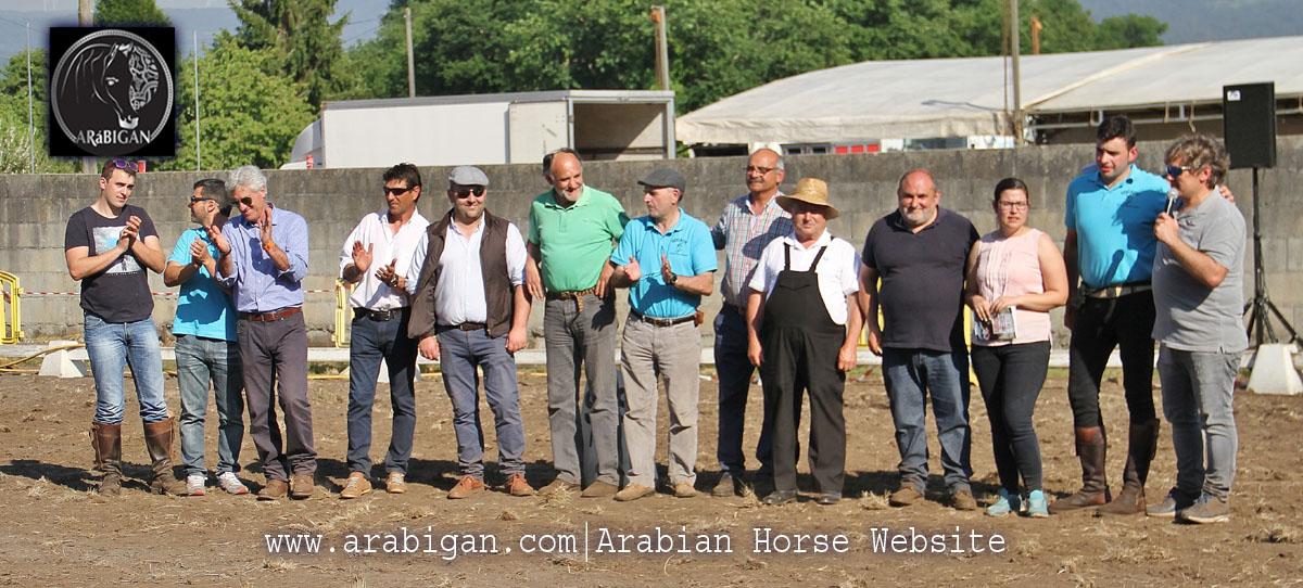 Miembros de SOCADE y jueces del morfológico de caballos árabes de A Estrada